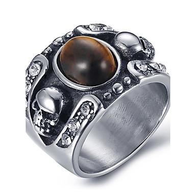 สำหรับผู้ชาย คำชี้แจง Ring แหวน Onyx สีดำ สีน้ำตาล หินอาเกต Titanium Steel วินเทจ ทุกวัน ที่มา เครื่องประดับ มายากล