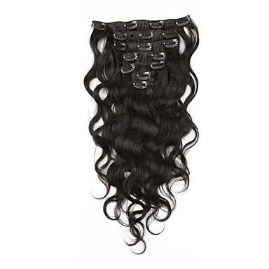 povoljno Ekstenzije za kosu-S kopčom Proširenja ljudske kose Tijelo Wave Virgin kosa Ekstenzije od ljudske kose Brazilska kosa Žene Ash Brown