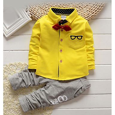 povoljno Odjeća za dječake-Dijete koje je tek prohodalo Dječaci Hlače Osnovni Košulje Dnevno Jednobojni Prugasti uzorak Print Dugih rukava Regularna Pamuk Komplet odjeće Bijela