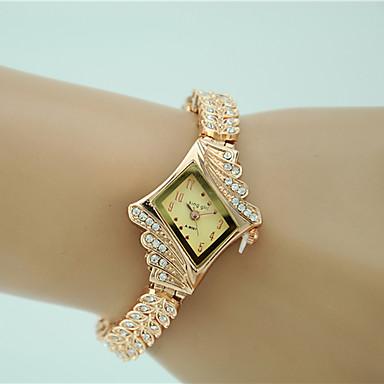 저렴한 정사각형 및 직사각형 시계-여성용 팔찌 시계 다이아몬드 시계 금시계 석영 숙녀 모조 다이아몬드 골드 아날로그 - 골드 1 년 배터리 수명 / Tianqiu 377