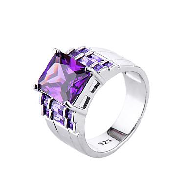 สำหรับผู้หญิง แหวน Cubic Zirconia Amethyst สีม่วง เพทาย Cubic Zirconia โลหะผสม สไตล์เรียบง่าย แฟชั่น งานแต่งงาน การหมั้น เครื่องประดับ จำลอง