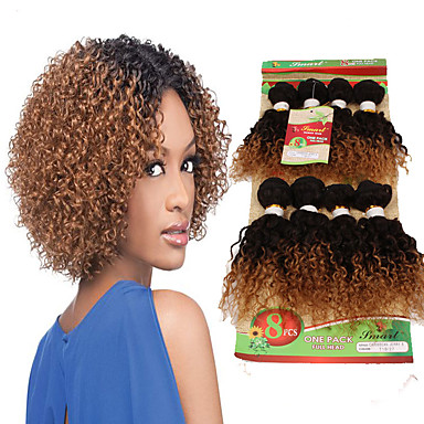 povoljno Ekstenzije od ljudske kose-Brazilska kosa Kovrčav Kovrčavog tkanja Ljudska kosa Ombre Isprepliće ljudske kose Proširenja ljudske kose / 8A