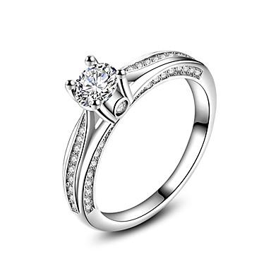 วงแหวน แหวน แหวนหมั้น Cubic Zirconia ขาว เพทาย Silver งานแต่งงาน ปาร์ตี้ เครื่องประดับ