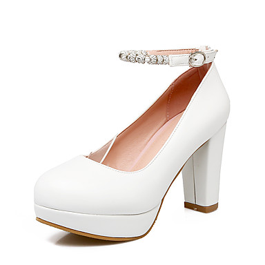 Mujer Zapatos Semicuero Verano Otoño Tacón Stiletto Hebilla Para Vestido Blanco Negro Rosa Almendra Pas Cher À Trouver Les Meilleurs t606DP