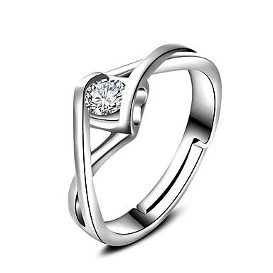 billige Motering-Band Ring Ring Forlovelsesring Kubisk Zirkonium Hvit Zirkonium Sølv Bryllup Fest Smykker