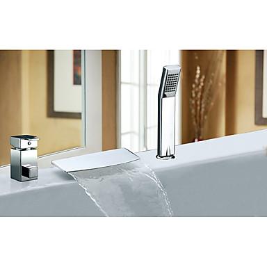 ก๊อกอ่างอาบน้ำ - ร่วมสมัย / Art Deco / Retro / ที่ทันสมัย มีสี กระจาย Ceramic Valve Bath Shower Mixer Taps / จับเดี่ยวสามหลุม