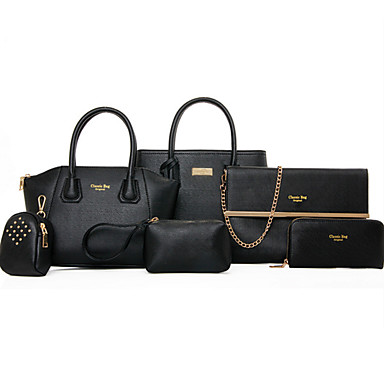 cheap Bag Sets-Women's Rivet PU Bag Set Bag Sets Solid Colored 6 Pieces Purse Set Black / Fuchsia / Yellow
