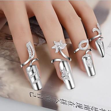 levne Dámské šperky-Dámské Vyzvánění Prsten kroužek na nehty Zlatá Stříbrná Postříbřené dámy Přizpůsobeno Neobvyklé Svatební Párty Šperky Kytky Ručně Vyrobeno