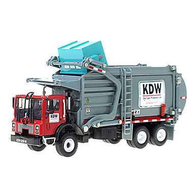 cheap Diecasts & Toy Vehicles-KDW 1:24 Metalic Plastic Dump Truck Garbage Recycling Truck Toy Truck Construction Vehicle Retractable Kid's Car Toys