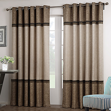 Rod Pocket Grommet Top Tab Top Double Pleated Two Panels Curtain  Neoclassical , Solid Living Room Polyester Material Curtains Drapes Home  1738072 2017 U2013 ...