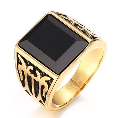 voordelige Herensieraden-Heren Statement Ring Ring Zegelring Onyx Goud Roestvast staal Agaat Vintage Feest Dagelijks Sieraden