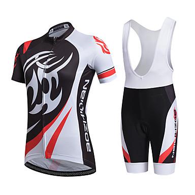 AOZHIDIAN สำหรับผู้หญิง แขนสั้น Cycling Jersey with Bib Shorts ขาว จักรยาน ชุดออกกำลังกาย ระบายอากาศ แห้งเร็ว กระเป๋าหลัง Sweat-wicking กีฬา ความเย็นสุด® ตารางไขว้ ซิลิโคน คลาสสิก / ยืด