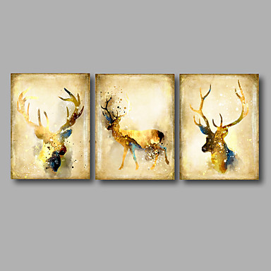 cheap Wall Art-Stretched Canvas Print Abstract Animal Modern,Three Panels Canvas Horizontal Print Wall Decor For Home Decoration