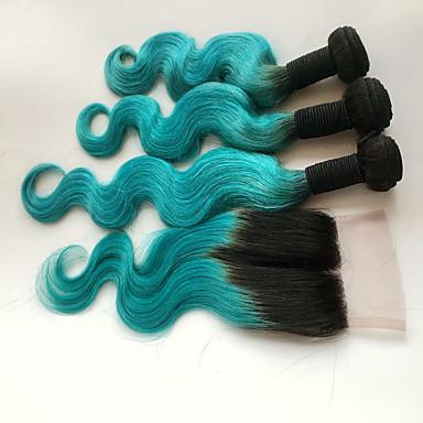 povoljno Ekstenzije od ljudske kose-4 paketića Brazilska kosa Tijelo Wave Ljudska kosa Ombre Ombre Isprepliće ljudske kose Proširenja ljudske kose / 8A