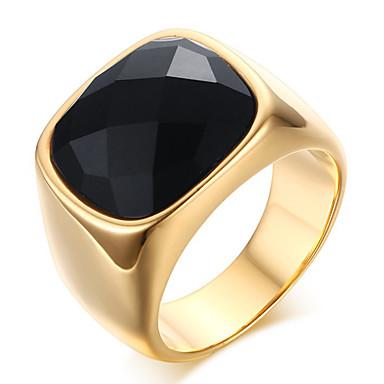 voordelige Herensieraden-Heren Statement Ring Ring duimring Onyx Goud Roestvast staal Agaat Dames Klassiek Feest Feest / Uitgaan Sieraden Emerald Cut nagebootst Prinsessa