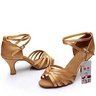 Chaussures de danse(Marron) -Personnalisables-Talon Personnalisé-Satin-Latines Jazz Salsa Chaussures de Swing , brown , us8.5 / eu39 / uk6.5 / cn40