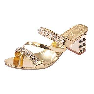 levne Dámské sandály-Dámské Podpatky Křišťálové sandály Nízký podpatek Nýty PU Pohodlné Jaro / Léto Zlatá / Stříbrná / EU40