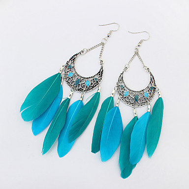 povoljno Modne naušnice-Žene Viseće naušnice Chandelier dame Europska Moda Američki domorodac Perje Naušnice Jewelry Zelen / Duga / Žutomrk Za Party