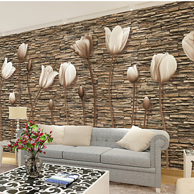 cheap Wall Art-Large 3D Stereo Wallpaper Mural Simple Flower Stone Wall Room Living Room Bedroom TV Background Wallcoving448×280cm