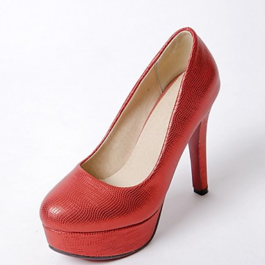 Mujer Zapatos Semicuero Primavera / Otoño Pump Básico Tacones Tacón Cuadrado Dedo redondo Blanco / Negro / Rojo / Boda / Fiesta y Noche mgDvtzKVu