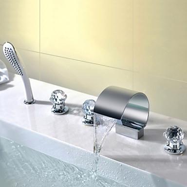 Badrum Tvättställ Kran - Vattenfall / Handdusch inkluderad Krom Horisontell montering Tre Handtag Fem hålBath Taps / Mässing