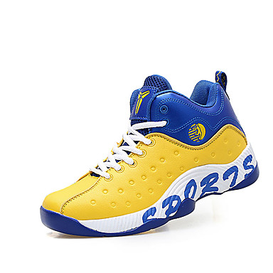 Men's Shoes PU Spring Fall Comfort Athletic Shoes Basketball Shoes Lace-up Outdoor Black Yellow Blue Black / White