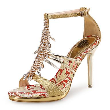 cheap VICONE-Women's Sandals Party Heels Stiletto Heel Rhinestone Glitter / PU(Polyurethane) Club Shoes Gold / Silver / Wedding / Party & Evening