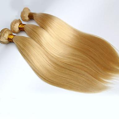 povoljno Ekstenzije od ljudske kose-3 paketa Brazilska kosa Ravan kroj Virgin kosa Ljudske kose plete Isprepliće ljudske kose Proširenja ljudske kose / 10A