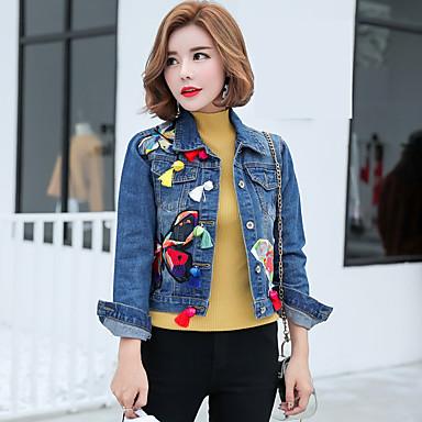 3384928d919 [$22.76] άνοιξη 2017 κορεατική έκδοση του μονόπετος θηλυκό κεντημένα τζιν  μπουφάν με ...