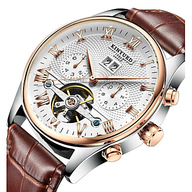 cheap Dress Classic Watches-KINYUED Men's Skeleton Watch Wrist Watch Mechanical Watch Japanese Automatic self-winding Leather Black / Brown 30 m Water Resistant / Waterproof Calendar / date / day Chronograph Analog Luxury