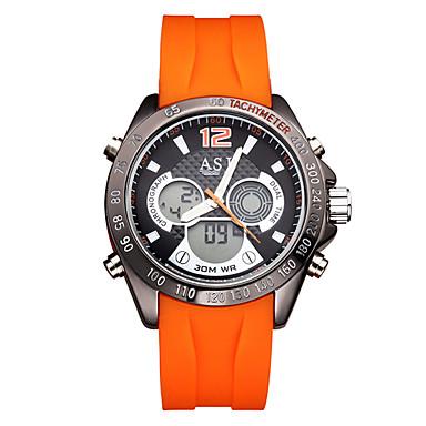 levne Pánské-ASJ Pánské Digitální hodinky japonština Digitální Silikon Černá / Orange 30 m Voděodolné Kalendář Kompas Analog - Digitál Na běžné nošení Módní - Černá Oranžová Dva roky Životnost baterie / Nerez