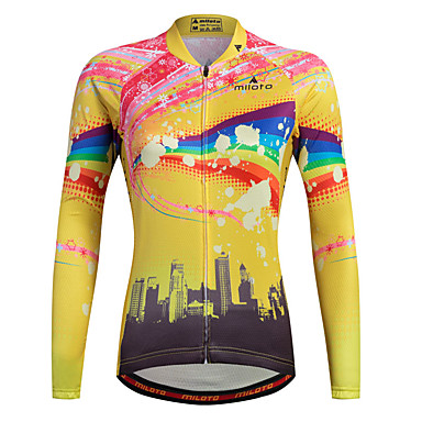 ea91baef3 Miloto Women s Long Sleeve Cycling Jersey Stripes Plus Size Bike Shirt  Sweatshirt Jersey Breathable Quick Dry Reflective Strips Sports 100%  Polyester ...