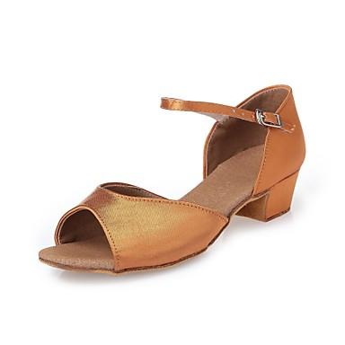 รองเท้าเต้นรำ ซาติน ลาติน / รองเท้าผ้าใบสำหรับเต้นรำ / โมเดอร์น ผูกริบบิ้น ส้น ส้นหนา ไม่ตัดเฉพาะ สีน้ำตาลเข้ม / ในที่ร่ม / Performance / หนังสัตว์ / Salsa / ฝึก