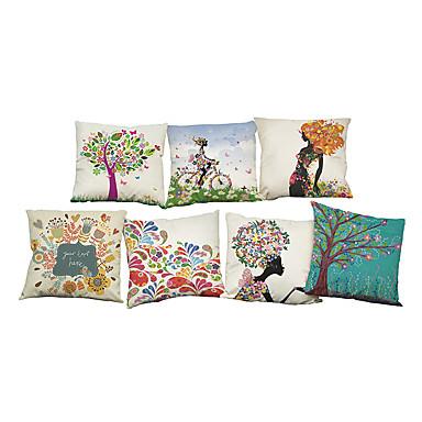 7 ชิ้น ผ้าลินิน Pillow Cover ปลอกหมอน, สีพื้น ลายดอกไม้ พื้นผิว ไม่เป็นทางการ สมัยใหม่ร่วมสมัย สำนักงาน / ธุรกิจ