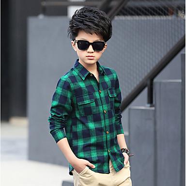 povoljno Odjeća za dječake-Djeca Dječaci Dnevno Karirani uzorak Dugih rukava Pamuk Majica Sive boje