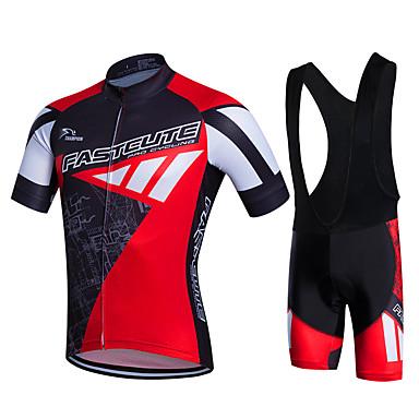 Fastcute สำหรับผู้ชาย แขนสั้น Cycling Jersey with Bib Shorts สีเขียว ขาว สีม่วง จักรยาน กางเกงขาสั้น Bib Shorts เสื้อแจ็คเก็ต ระบายอากาศ 3D Pad แห้งเร็ว Sweat-wicking กีฬา เส้นใยสังเคราะห์ ซิลิโคน