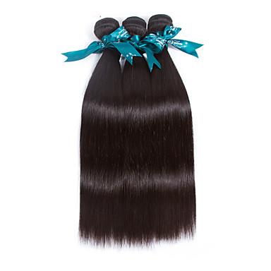 povoljno Ekstenzije od ljudske kose-3 paketa Brazilska kosa Ravan kroj Virgin kosa Ljudske kose plete 8-26 inch Priroda Crna Isprepliće ljudske kose Proširenja ljudske kose / 10A