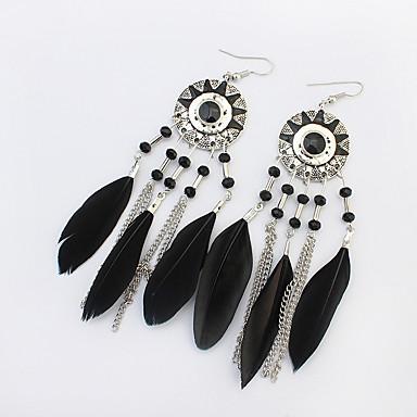 สำหรับผู้หญิง Drop Earrings พู่ ลูกปัด Flower Sunflower พู่ เกี่ยวกับยุโรป ขนนก ต่างหู เครื่องประดับ สีดำ / แดง / สายรุ้ง สำหรับ ปาร์ตี้