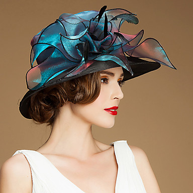 povoljno Party pokrivala za glavu-Lan / Svila / Organza Kentucky Derby Hat / kape / Šeširi s Cvjetni print 1pc Special Occasion / Kauzalni / Vanjski Glava