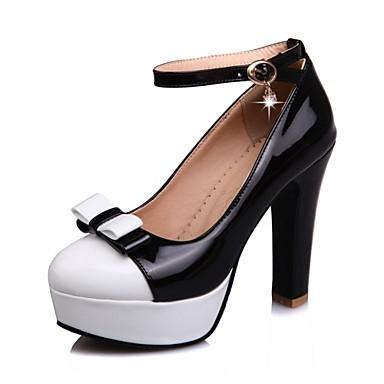 Mujer Zapatos PU Primavera verano Pump Básico Tacones Tacón Cuña Dedo redondo Hebilla Beige / Azul / Almendra jS0SupZmx