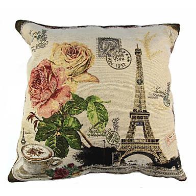 1 ชิ้น ผ้าลินิน Pillow Cover ปลอกหมอน, ลายดอกไม้ สัตว์ พื้นผิว Retro