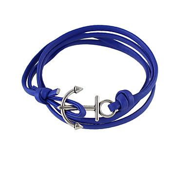 levne Dámské šperky-Dámské Wrap Náramky Kožené náramky Přátelé přátelství Kožené Náramek šperky Černá / Modrá Pro Dar