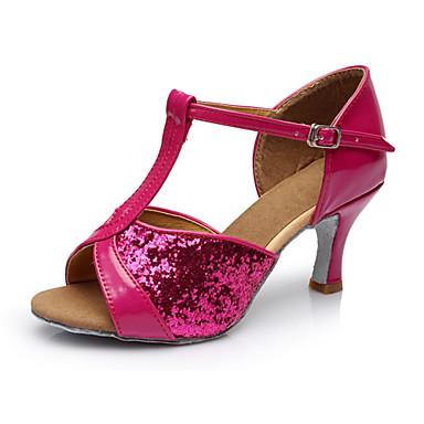 ราคาถูก รองเท้าเต้นราคาถูก-สำหรับผู้หญิง รองเท้าเต้นรำ ซาติน ลาติน / Salsa หัวเข็มขัด รองเท้าแตะ ส้นแบบกำหนดเอง ตัดเฉพาะได้ น้ำตาล / ทอง / สีบานเย็น / ในที่ร่ม