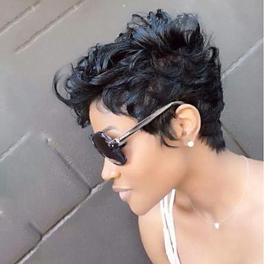 halpa Suojuksettomat-Ihmisen hiussekoitus Peruukki Lyhyt Luonnolliset aaltoilevat Pixie-leikkaus Kerroksittainen leikkaus Lyhyt kampaus 2020 Otsatukalla Berry Luonnolliset aaltoilevat Sivuosa Afro-amerikkalainen peruukki