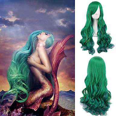 billige Kostymeparykk-Syntetiske parykker Krop Bølge Stil Lokkløs Parykk Grønn Syntetisk hår Dame Grønn Parykk