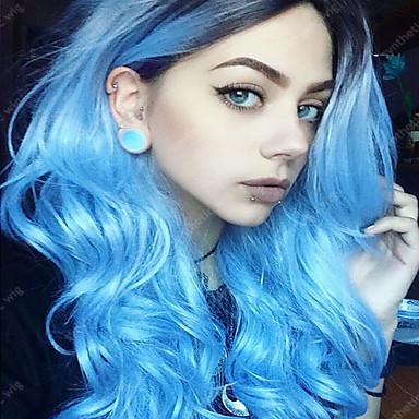 วิกผมสังเคราะห์ Wavy Wavy ผมปลอม Blue สังเคราะห์ สำหรับผู้หญิง ผม Ombre ฟ้า