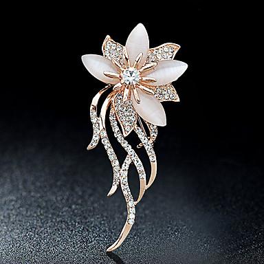 preiswerte Brosche-Damen Broschen Blume damas Stilvoll Elegant Italienisch Alltäglich Krystall Strass Brosche Schmuck Gold Für Party Normal