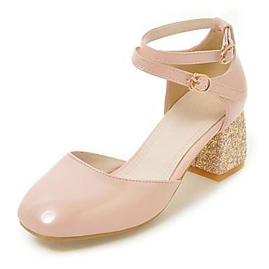 ราคาถูก ส้นรองเท้า-สำหรับผู้หญิง รองเท้าแตะ ส้นหนา ปลายกลม หัวเข็มขัด หนังเทียม ความสะดวกสบาย ฤดูใบไม้ผลิ / ฤดูร้อน / ตก ผ้าขนสัตว์สีธรรมชาติ / แดง / สีชมพู / แต่งตัว / 2-3