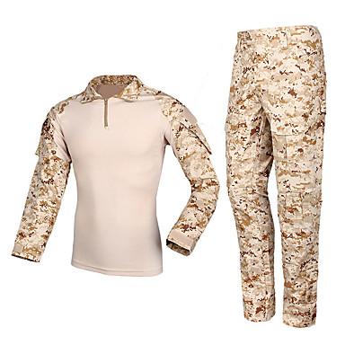 สำหรับผู้ชาย Hunting Jacket with Pants กลางแจ้ง Tactical ฤดูใบไม้ผลิ ตก ฤดูหนาว อำพราง ชุดออกกำลังกาย Terylene แขนยาว แคมป์ปิ้ง & การปีนเขา การล่าสัตว์ การปีนหน้าผา