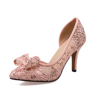 Mujer Zapatos Sintético / PU Verano / Otoño Confort / Innovador Tacones Paseo Tacón Stiletto Dedo redondo Hebilla Beige / Rojo / Rosa OObYBe